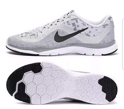 cheap for discount e5c22 c943c Womens NIKE FLEX TRAINER 6 PRINT Grey white Running Trainers 831578 003 uk  7.5