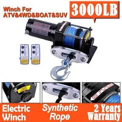 Electric Winch 3000LBS 1361KG 12V Synthetic Rope Wireless Remote Boat 4WD ATV AZ