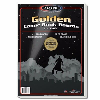 100 Golden Age Size Comic Book Backing Boards Storage White Backer Acid Free BCW
