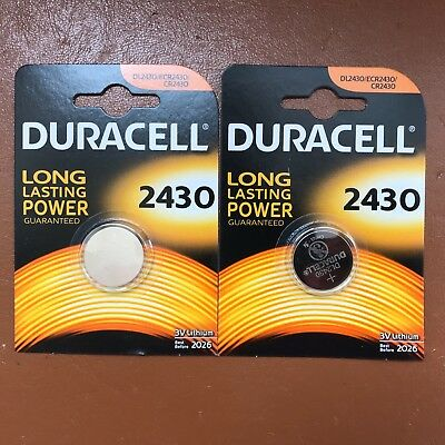 2 X Duracell CR2430 3V Lithium Coin Cell Battery DL2430 K2430L LONGEST EXPIRY