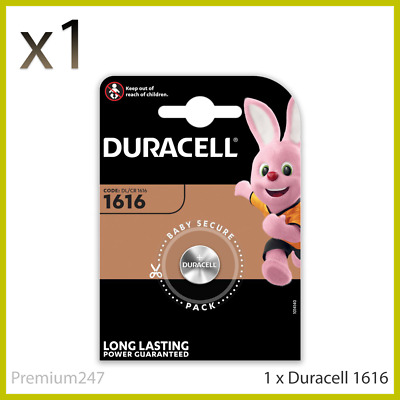 NEW Duracell CR1616 3V Lithium Coin Cell Battery DL1616 1616 LONGEST EXPIRY DATE