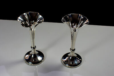 Antique Victorian Sterling Silver Fluted Pair of Vases 1898