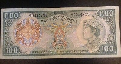 Rare!! Bhutan 100 Ngultrum  Note Rev:tashichho Drong Building P-11 Nd(1981).used