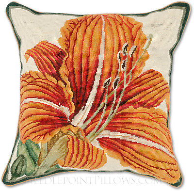 COPPER ORANGE CINNAMON TAPESTRY LINEN FLORAL LILY FLOWER CUSHION COVERS £7.99