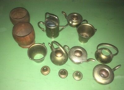 Collection Of 8 Brass/metal And 2 Wooden Vintage Items. Some Damaged