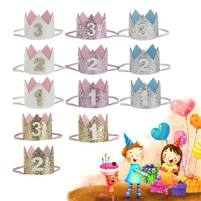 Princess Crown Headband Number 1 2 3 Party Supply Birthday Hat For Boys/Girls
