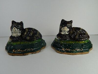 Vintage Cast Iron Kitty Cat Wedge Type Doorstops.