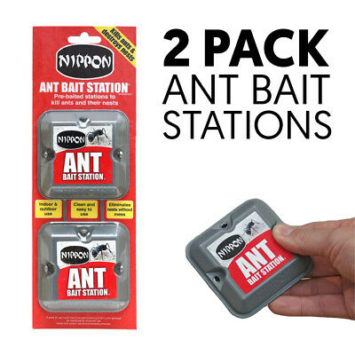 Nippon Ant Killer Bait Station Nest Trap Stop Ants Colony Pre baited Twin Pack