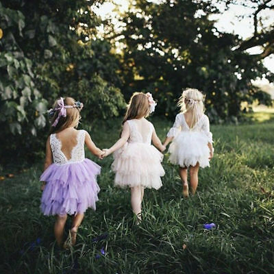 Flower Girl Fluffy Eyelash Lace Ruffle Princess Party Dress for Toddler Baby Kid