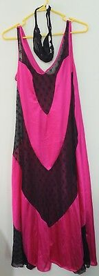 NEW Hot Pink And Black Sexy Lace Gown Lingerie With Thong Women's Nightwear