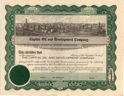 early Alaska oil company stock certificate: Capital Oil and Development Company