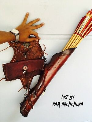 CUSTOM HIP Archery Cow hide Quiver Grizzly Bear Raven 100% Handmade FREE P&P