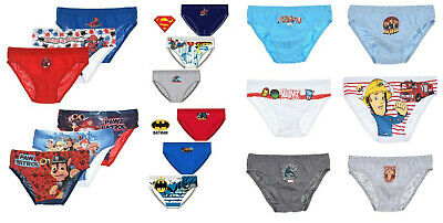 Boys Paw Patrol Spiderman Superman Batman Fireman Sam Briefs Underpants Avengers
