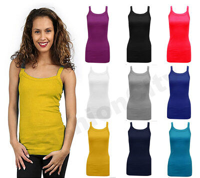 Ladies Womens Plain Ribbed Stretchy Vest Top Strap Gym Cami Sizes 8-24