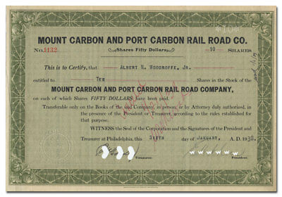 Mount Carbon and Port Carbon Rail Road Co. Stock Certificate