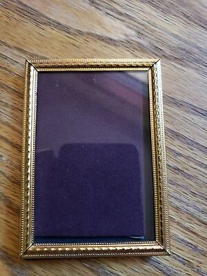 Vintage Gold Brass Metal Photo Picture Frame 2 1/2 X 3 1/2