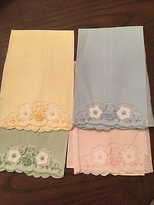FAB Vtg MADEIRA  Linen Organdy Guest Towels Hand Embroidered PRISTINE  SET OF 4
