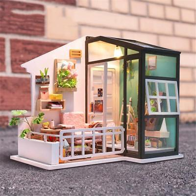 Dollhouse Miniature DIY LED lights Doll House Furniture Kit Wooden Toy Kid Gift