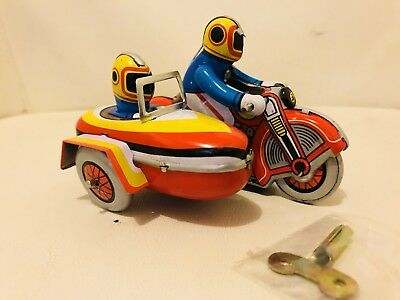 Vintage Wind Up Rider and Sidecar Motorcycle Tin Toy Collectable Gift