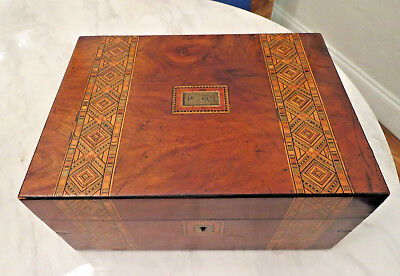 English Marquetry Wood Inlay Tea Caddy 19th century