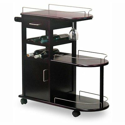 Brown Multi Level Wine Bottle Storage Serving Cart Home Dining Room  Furniture