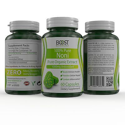 3 BOTTLES 100% PURE AND ORGANIC NONI BERRY EXTRACT 1000mg180 VEGGIE CAPSULES