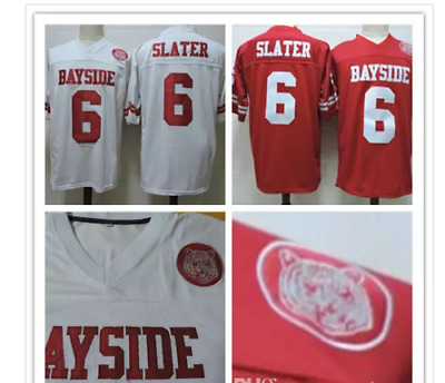 ea0a87557b1 AC Slater  6 Saved by the Bell Bayside Football Jersey STITCHED White Red  MEN