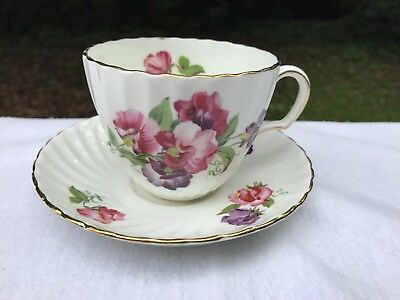 Gorgeous Adderley Sweet Pea Flowers H657 English Fine Bone China Cup and Saucer