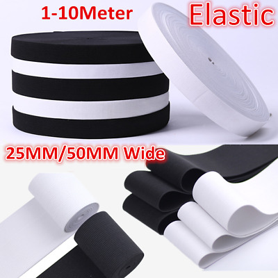 NEW 25/50mm 1-10m Stretch Flat Elastic Waist Band Woven Sewing Trousers Making