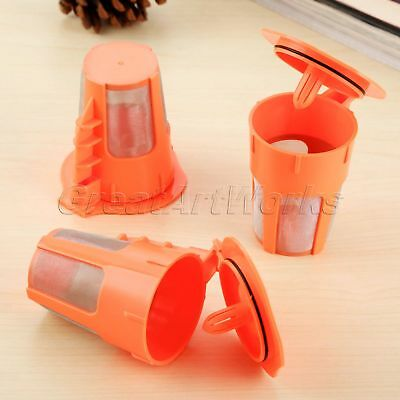3x Reusable K-Carafe Filters for Keurig 2.0 Refillable Orange Coffee Pods Cup