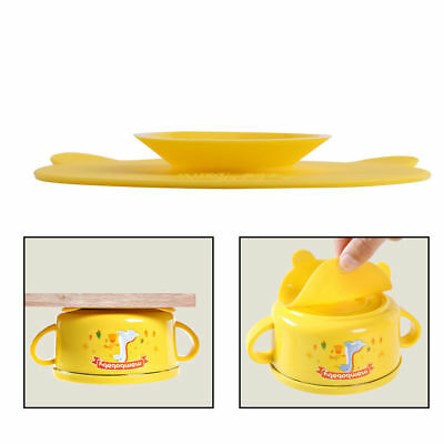 US Silicone Mat Baby Kids Bowl Suction Table Food Tray Placemat Plate Dish Safe