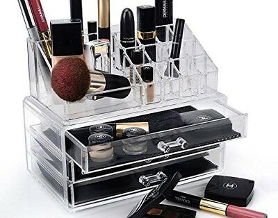 Makeup and Jewellery Cosmetic Organiser   2 Tier Clear Acrylic Make-up Organize
