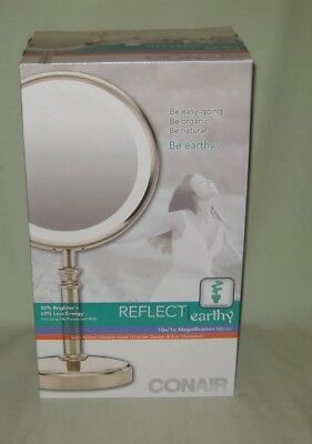 NEW Conair Round Shaped Fluorescent Double-Sided Lighted Makeup Mirror - BE116T