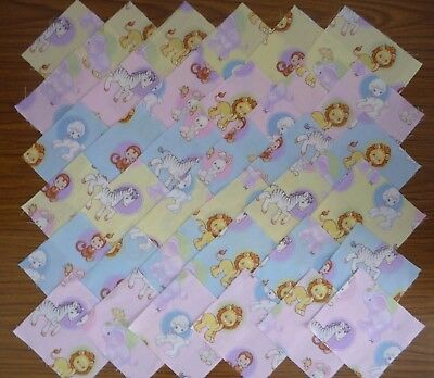 36 x 10cm Squares Monkey Elephant Rabbits Precious Moments Baby Quilting Fabric