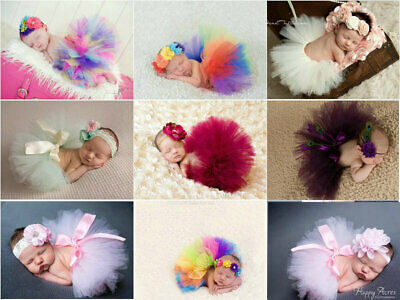 Newborn Girl Baby Clothes Sets Flower Headwear Skirt Cute Photo Prop Tutu Dress