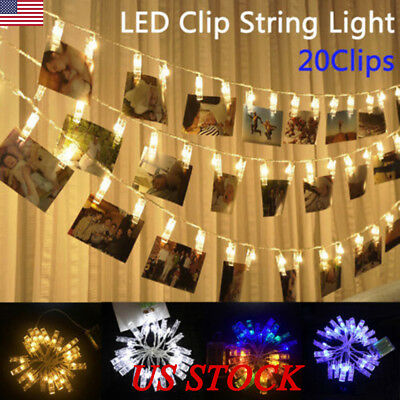 LED Hanging Picture Photo Peg Clip Fairy String Lights Party Decor Battery/USB