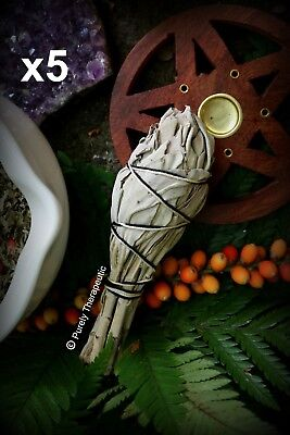 WHITE SAGE SMUDGE STICKS x5 Wicca Pagan Healing Cleanse Ritual Spell Witch Herbs