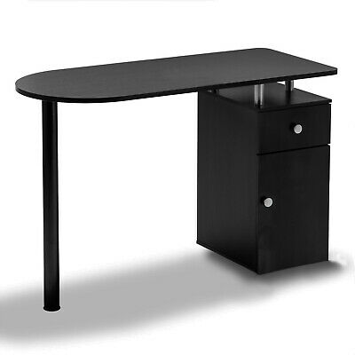 Nail Technician Desk Manicure Art Table Salon Workstation Pedicure Black Storage