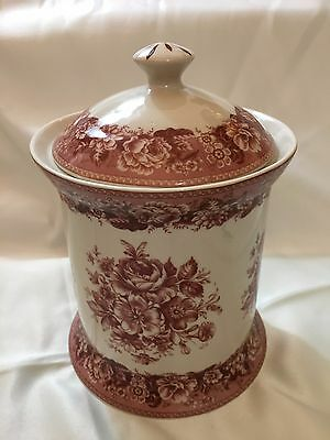 New antique vintage style red & cream floral pattern porcelain Canisters