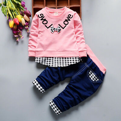 2PC Toddler Baby Boy Girl Long Sleeve T Shirt+Denim pants Clothes Set