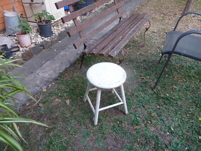 Old retro Stool, round top, made of timber. Home, garden, Patio, Plant holder.