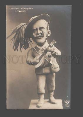 091780 WWI Royal Caricature Concert ITALY Vintage PC