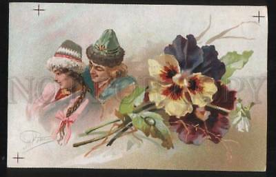 101596 RUSSIA Type Lovers as PANSY Flower by ROM vintage RARE