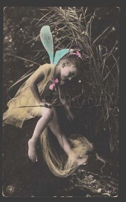 115090 Winged Girl FAIRY Elf Dragonfly Old Tinted PHOTO