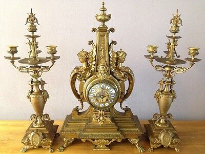 Antique (1850) Bronze French Clock Set Japy & Lefebvre Paris - Free Shipping