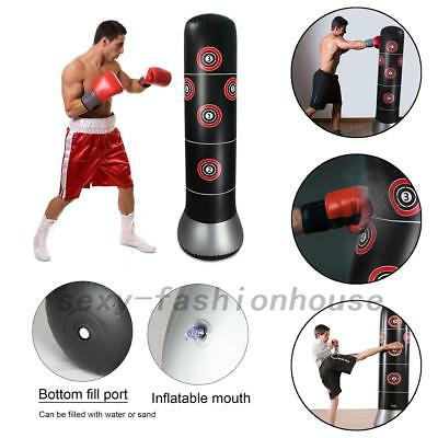 AU Inflatable Boxing Punching Bag Stand MMA Kick Martial Training With Air Pump