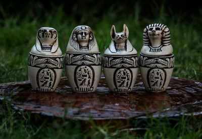 Vintage Set of 4 Canopic Ancient Egyptian Hand-Engraved Storage Jars.
