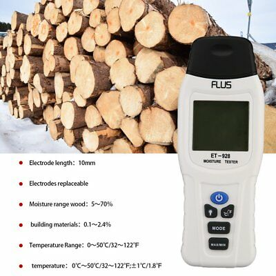 Wood Moisture Meter Humidity Tester Digital Timber Damp Detector 0~100%RH IL