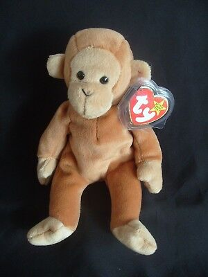 Ty Beanie Baby Bongo - The Monkey - Brown Tail - Mint - Retired