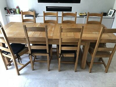 Phenomenal Solid French Oak Farmhouse Extending Dining Table 8 Chairs Inzonedesignstudio Interior Chair Design Inzonedesignstudiocom
